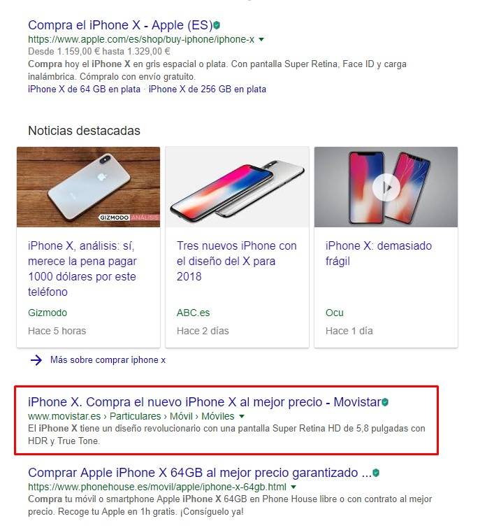 "SERP para ""comprar iphone x"""