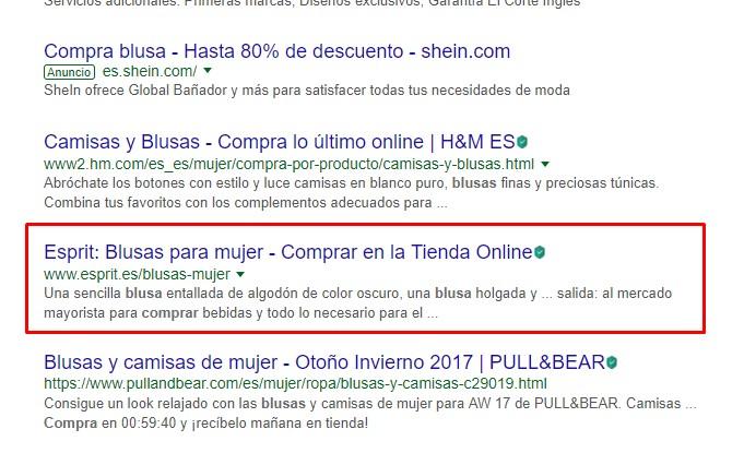 """SERP de Google para la búsqueda """"comprar blusa"""""""