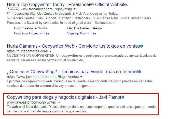 """SERP de Google para la búsqueda """"copywriter web"""""""
