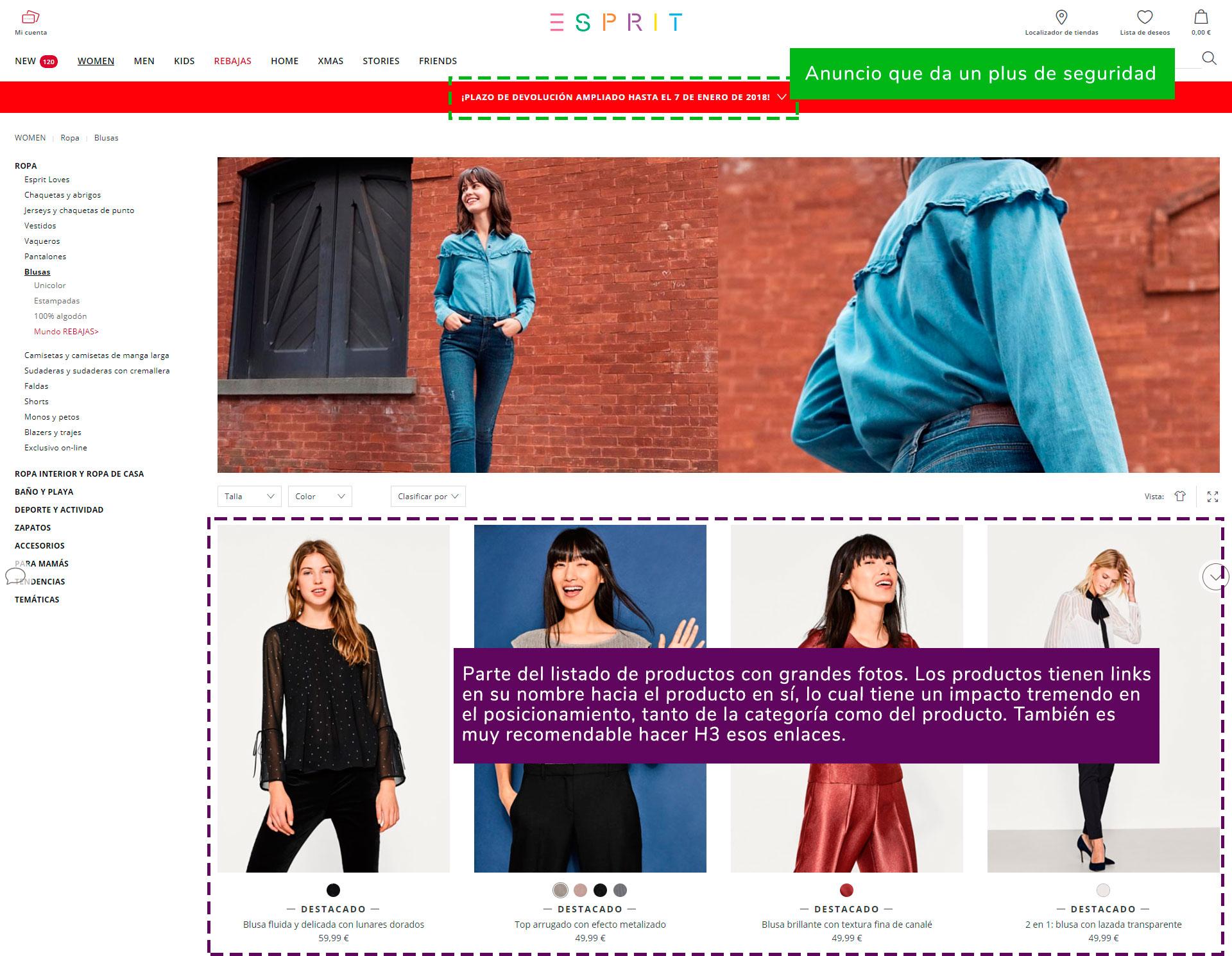 Inicio de la página de blusas de ESPRIT