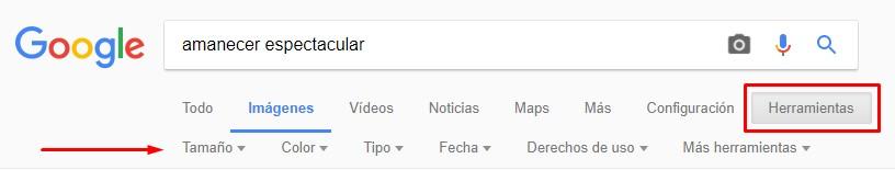 Herramientas de búsqueda de imágenes en Google