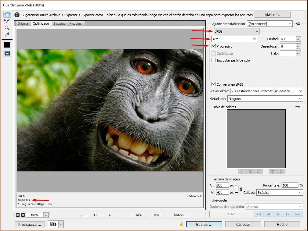 Panel de exportación de imágenes de Photoshop