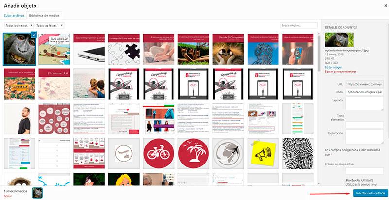 Panel de subida de imágenes a WordPress