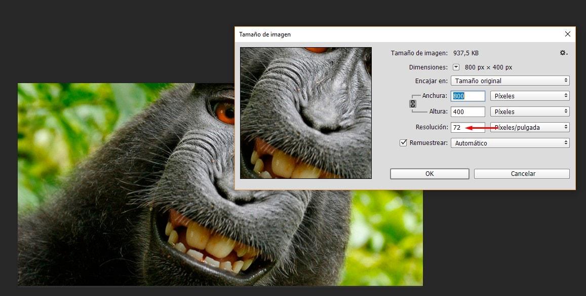 Comprobar resolución en Photoshop