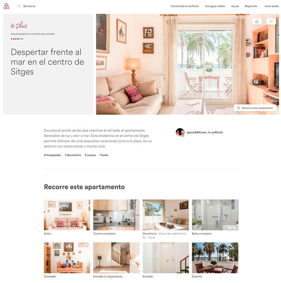 Descripción de apartamento en AirBnB