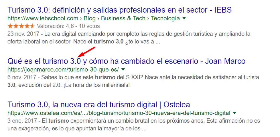 Búsqeuda en Google de turismo 3.0