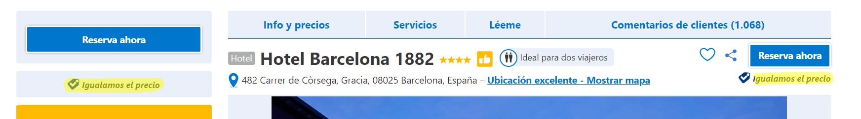 Igualamos el precio - Booking