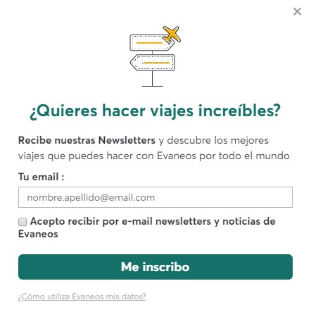 Formulario para captar leads de Evaneos