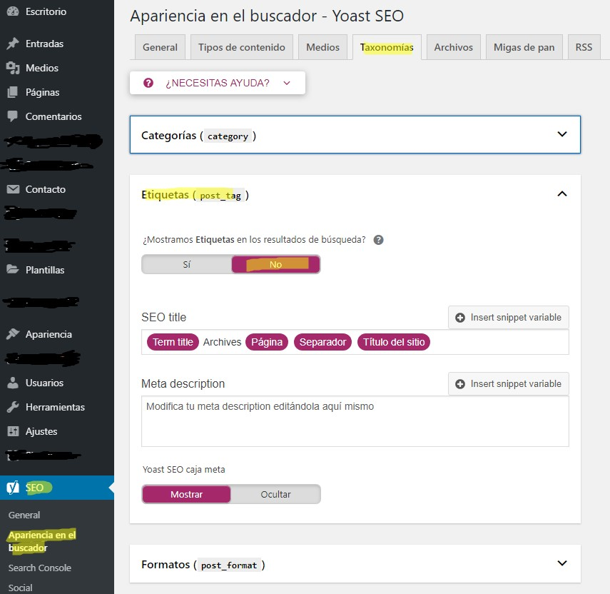 No indexar etiquetas en WordPress