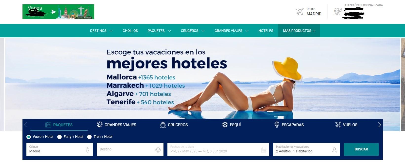 Ejemplo de agencia de viajes con web de marca blanca