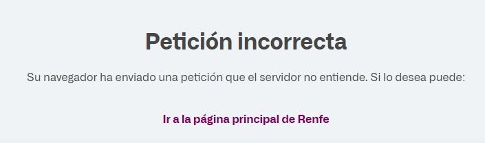 Mensaje de error en web de Renfe