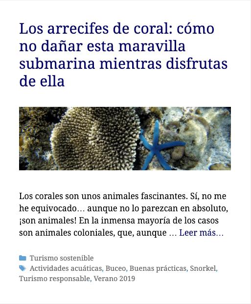 Post de Travel Me Softly de turismo sostenible sobre arrecifes de coral