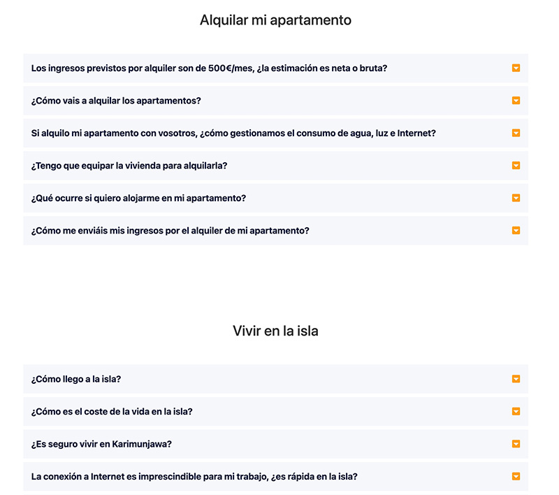 Ejemplos de preguntas frecuentes por categorías